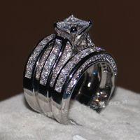 ingrosso set di gioielli diamante-Vecalon Fine Jewelry Princess taglio 20ct diamante Cz Fidanzamento Wedding Band Ring Set per le donne 14KT Anello in oro bianco con piega