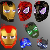 Wholesale Led Lights For Halloween Masks - Led Glowing Light Mask hero SpiderMan Captain America Hulk Iron Man Mask For Kids Adults Party Halloween Birthday Full Face Masks KKA2331