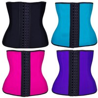 Wholesale Khaki Color Corset - Latex Waist Trainer Corset Steel Bone Sport Latex Girdle Slim Shaper Fitness Waist Belt Corset Women Waist Shapewear 3 Layers Plus Size