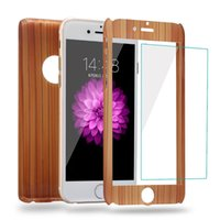 Wholesale Wood Iphone Bumper - Kwmobile Bamboo 360 Degree Full Body Coverage Protective Case Cover For Iphone Case Wood Back Hard Shell Bumper Mobile Phone