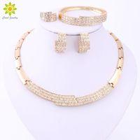 Wholesale middle east beauty - New Arrival Rhinestone Charm Necklace Earrings Bracelet Ring Women Beauty 18K Gold Plated African Wedding Jewelry Sets