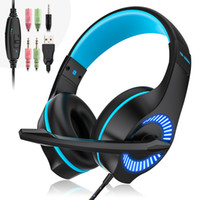 Gaming Headset 3.5mm Wired Game Cuffie Cuffie con microfono Surround Bass stereo, riduzione del rumore LED Light per PS4 Xbox