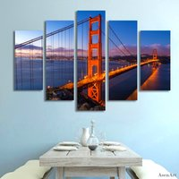 Wholesale Bridge Wall Art - 5 Panel Golden Gate Bridge Picture Wall Art Canvas Prints Wall Paintings for Bedrooms Home Decor Unframed
