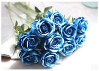 Wholesale vintage artificial wedding bouquets - 13Colors Vintage Artificial Flowers Rose 51 CM 20 Inch Rose Bouquets for Bridal Wedding Bouquet Decoration