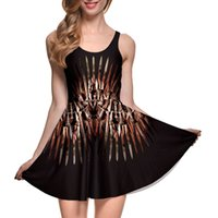 Wholesale Sword Iron - NEW 1014 Sexy Girl Women Summer sword Iron Throne game of thrones3D Prints Reversible Sleeveless Skater Pleated Dress Plus size