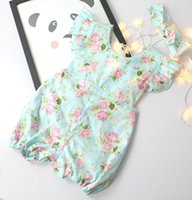 Wholesale Leopard Bloomers Wholesale - Floarl Baby Girls Romper 2016 New Ruffle Flower Printed bloomers Ruffles Lace Toddler Jumpsuit with Butterfly headband Infant onesie BJ083