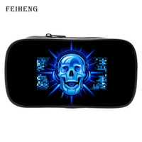 Wholesale Coin Offers - Wholesale- Special Offer 2016 New Style Polyester Printing Skull Black Boys Pen Bag Children Key Wallets Baby Girls Coin Purses for Kids