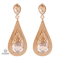 Wholesale Wedding Jewelry Champagne Color - Champagne color New Water Drop Wedding earrings Women Crystal Multilayer chain Gold color earrings Jewelry gift Bridal Aretes Brinco
