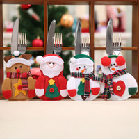 Wholesale red dining tables - 6pcs set Kitchen Dining Table Cutlery Suit Set Christmas Decorations For Home Snowman Cutlery Bags Christmas Santa Claus Christm