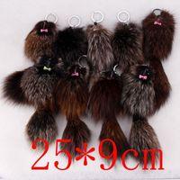 Wholesale Genuine Fox Fur Bag - Hot Sale Cute Genuine FOX Fur mouse Plush Key Chain For Car Key Ring Bag Pendant Car Keychain free shipping