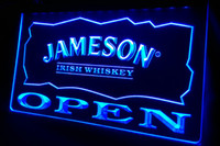 Wholesale irish neon bar signs - LS458-b Jameson Irish Whiskey OPEN Bar Neon Light Sign