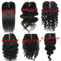 Wholesale Kinky Virgin Closure - Virgin Brazilian Human Hair Full Lace Closure 4x4inch lace middle part 8-24inch Straight Body Deep Kinky Loose Culry wave hair extensions