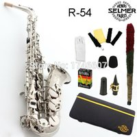 Wholesale Silver Alto Sax - Wholesale-Free shipping EMS Genuine France Selmer Alto Saxophone R54 Professional B Silver Sax mouthpiece With Case and Accessories