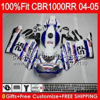 Wholesale Honda Fit Body Kits - Injection Body For HONDA white blue CBR 1000RR 04 05 Bodywork CBR 1000 RR 79HM11 CBR1000RR 04 05 CBR1000 RR 2004 2005 Fairing kit 100% Fit
