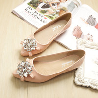 Woman Shoes Ballet Flat Loafers Bow Slip on Sandals Pointed Toe Slides Rhinestone Shallow Zapatos Mulher Preto Damasco Rosa