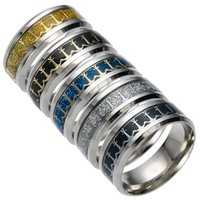 Wholesale Mens Anchor Rings - 2017 Hot Sale Stainless Steel Rings Mens Rings Titanium Steel Jewelry Anchor Design Stainless Steel Ring Men 5 Styles 8 Sizes