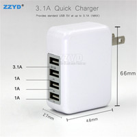 Wholesale Iphone Adpater - ZZYD 3.1A 15W 4 port Wall charger Portable Power Adpater Travel Fast charger US EU Plugs For Cellphone iphone S8 ipad