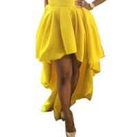 black high low maxi skirt - Yellow High Low Skirts For Women Popular High Waisted Floor Length Party Dresses Casual Dresses Women Skirts Maxi Skirts Fast Shipping