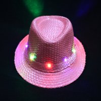 Wholesale Blue Light Jazz - Fashion Luminous Formal Hat LED Light Sequins Jazz Hats Adults Stage Dance Performance Cap For Men And Women 9 zj B