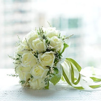 Wholesale Lovely Bride - Lovely Artificial White Rose Wedding Bouquets for Bride Hand Holding Flowers Wedding Favors Rose Wedding Bouquet 18 Flowers