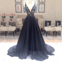 Wholesale Pink Top Small Lace - Cheap High Quality Prom Dressess Black A Line Plunging Deep V Neck Lace Appliqued Top Long Formal Evening Party Wear Small Train