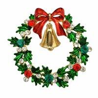 kristal ağaç dekor toptan satış-Noel Broş Rhinestone Kristal Broş Mücevherli 6 Stilleri Noel Ağaçları Kar Tanesi Broş Ve Pin Giysi Dekor Yılbaşı Hediyeleri
