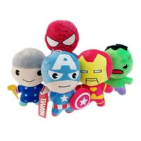Wholesale Superheroes Plush Toys - Wholesale 12cm Superhero Plush Action Figure Toys Superman Captain American Iron Man Spiderman Stuffied Animals Toy Kids Toy For Gift