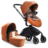Wholesale Two Way Stroller - New arrival pouch baby stroller PU leather high-view folding two-way baby pushchair with spring shock absorbers children trolley baby by