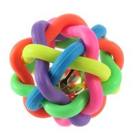 Wholesale Rubber Cat Toy - Hot Sales Dog Toys Dog Accessories With Bell Pet Cat Play Woven Ball Rainbow Color Rubber Material Durable Chews Ball Toy