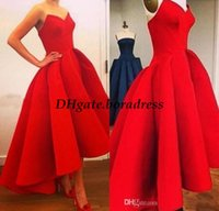 Wholesale High Low Dress Real Sample - Long Red Ball Gown Evening Dresses 2016 Real Sample High Low Sweetheart Satin Women Formal Occasion Wear Arabic Short Front Prom Party Skirt