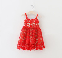 Wholesale White Winter Dresses For Kids - Hug Me Baby Girls Lace Tutu Dresses Christmas 2016 New Autumn Sleeveless for Kids Clothing New Party Lace Cake Vest Lace Dress AA-435