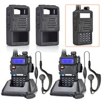 2pcs-/ lot BAOFENG UV-5R UHF + VHF Dual Band / Dual Watch radio bidirezionale Walkie Talkie + gomma nera portatile della custodia per armi