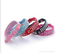 Wholesale Diamante Rhinestone Dog Collars - Leather Dog Collars Crystals Leather Dog Collars Pet Supplies Rhinestone Cute Pet Collars Diamante Dog Collars Pet Products High Quality