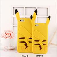 Wholesale Iphone Cases Pikachu - Cute 3D Cartoon Poke go Pikachu Soft Silicone Gel Case back Cover Skin for iphone 7 Plus 5S SE 6 6S plus