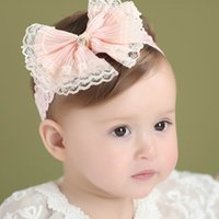 Wholesale Korean Style Bow Headband - Baby Girls Cute Headband Lace Bow Korean style Sweet Headwear Children Hair Accessories individually packing E41801