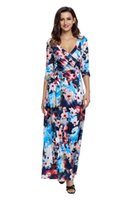 Wholesale New Release Dress - European and American new release large-size women's floral print sexy v-neck with a high-waist style Boho dress