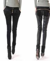 Wholesale Cowboy Sexy Man - women's brand fashion sexy PU splicing leather pants cowboy harlan pants