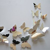 Wholesale Party Vinyl - 12Pcs lot New Arrive Mirror Sliver 3D Butterfly Wall Stickers Party Wedding Decor DIY Home Decorations for Kids Rooms Adhesive