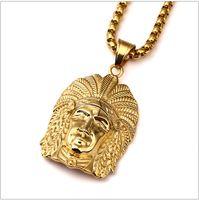 indian 18 vergoldeter schmuck großhandel-hip hop classics Rapper Herren Hohe qualität 18 Karat Reales Gold Überzog hip hop Indian Chief kings Anhänger kette Halsketten Schmuck