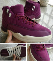 Wholesale High School Shoes - High Quality Retro 12 Bordeaux Men Basketball Shoes Public School PSNY x Retro 12s Wine Red Purple White Sneakers With Shoes Box