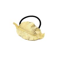 Compra Pony D'oro-New Gold foglie esagerate Vintage donne hairbands di alta qualità del metallo placcato Lady bande supporto pony tail moda hairwears gioielli