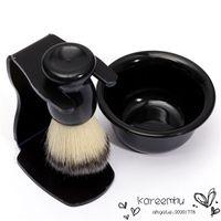 Wholesale Mug Hair - New Arrival Mens Shaving Tool Set Best Badger Bristle Hair Shaving Brush Bowl Mug Drip Stand ABS Bowl