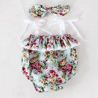 Wholesale Lace Ruffles Girls Clothing - Floral girls clothes Girls lace ruffles romper headband 2piece set ,Summer romper onesies diaper covers bloomers in Vintage pink Floral