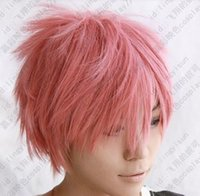 Wholesale Natsu Wig - 100% Brand New High Quality Fashion Picture Wig can hot>>>>fairy tail Natsu Dragneel short pink cosplay party wig