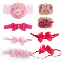 Wholesale Pink Chiffon Hair Bow - Baby Headband and Hair Clip Set Big Pink Satin Lace Flower Bow Hair Band Triple Shabby Chiffon Flower Beetle Hair Clip