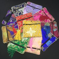 Wholesale Chinese Small Party Gifts - Small Chinese Silk brocade Bag Zipper Jewelry Gift Pouch Packaging Ladies cloth Mini Bag Coin Purse Wedding Christmas Birthday Party Favor