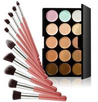 Wholesale Bag Concealer - 2016 New 15 color concealer + Makeup Brushes 10PCS LOT + Bags Beauty Cosmetic Foundation Blending Blush Make Up Brush Tools Kit Set