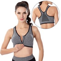 Wholesale Cup Pads - Plus Size Women Fitness Yoga Sports Bra For Running Gym Padded Shockproof Wirefree Shakeproof Underwear Push Up Seamless Front Zipper Bra