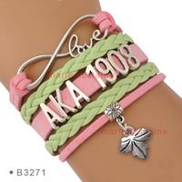 Wholesale pink apple jewelry - Infinity Love AKA 1908 Leaf Alpha Kappaa Alpha Heart Salmon Pink Apple Green Wrap Bracelet Custom Drop Shipping Women Men Lady Jewelry Gift