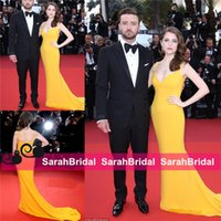 Wholesale Sexy Greek Prom Dresses - Anna Kendrick 2016 Cannes Red Carpet Celebrity Evening Dresses Greek Goddess Fashion Yellow Fit and Flare Long Skirt Prom Gowns Wear Cheap
